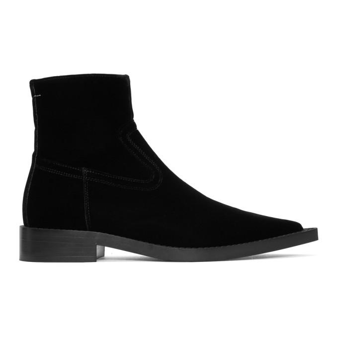 MM6 Maison Martin Margiela Black Velvet Cowboy Boots
