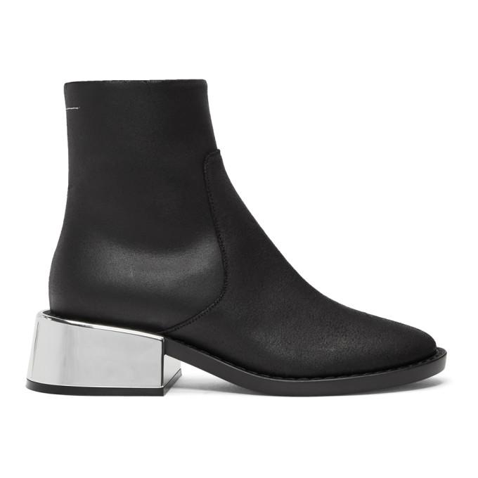 MM6 Maison Martin Margiela Black Round Toe Boots