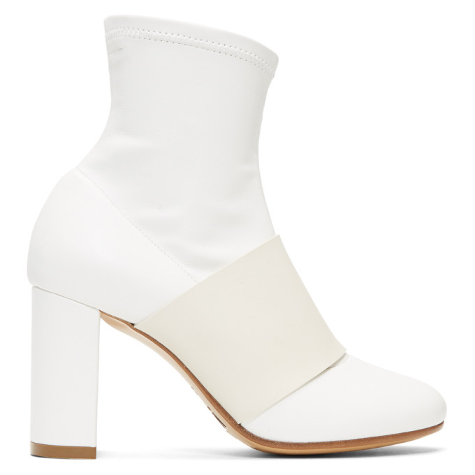MM6 Maison Martin Margiela White Cut Heel Banded Boots