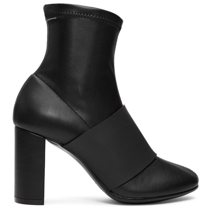 MM6 Maison Martin Margiela Black Cut Heel Banded Boots