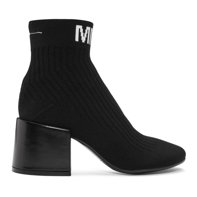 MM6 Maison Martin Margiela Black Logo Sock Boots