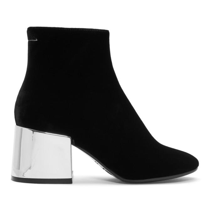 MM6 Maison Martin Margiela Black Velvet Cube Heel Boots
