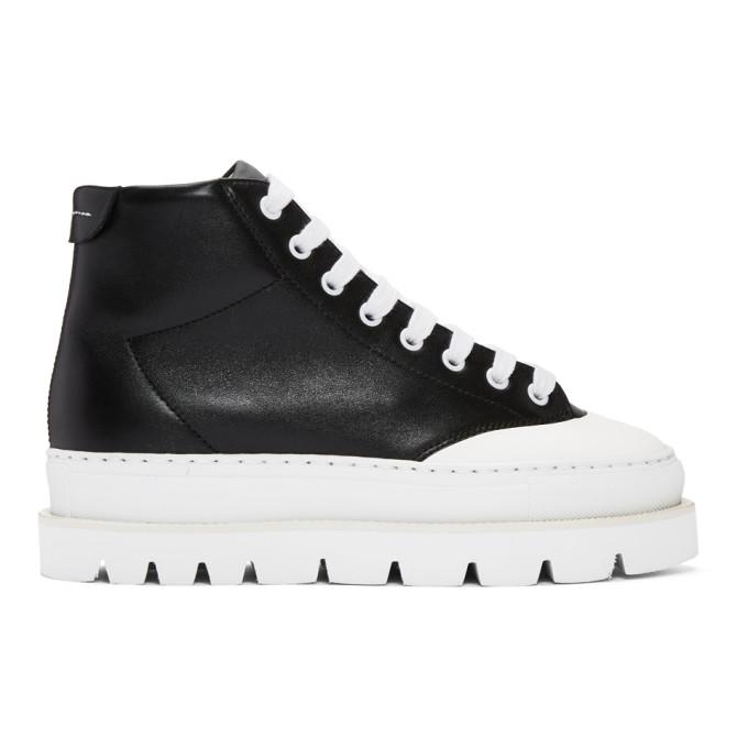 MM6 Maison Martin Margiela Black Leather Hiking Boots