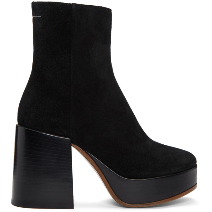 MM6 Maison Martin Margiela Black Thick Heel Boots