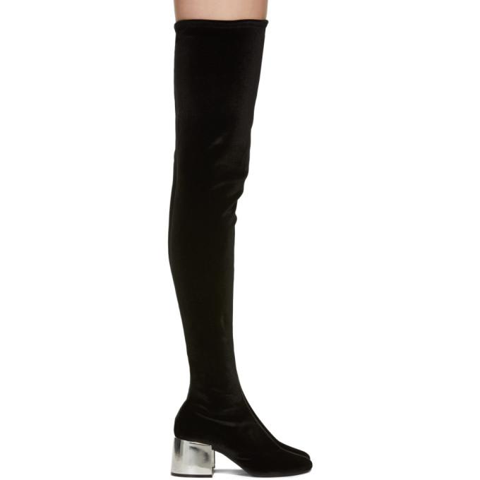 MM6 Maison Martin Margiela Black Velvet Over-The-Knee Boots