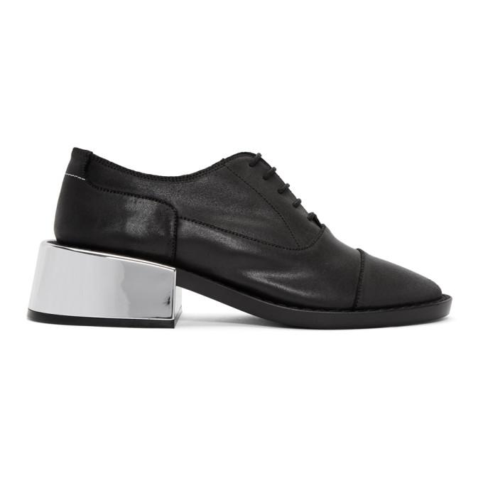 MM6 Maison Martin Margiela Black Metallic Heel Loafers