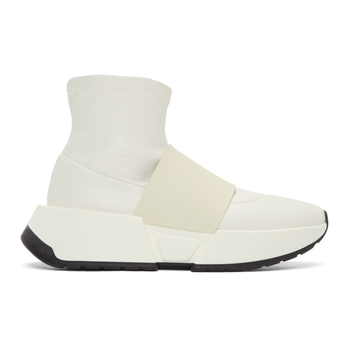 MM6 Maison Martin Margiela White Leather Sock High-Top Sneakers