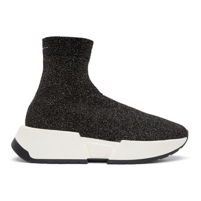 MM6 Maison Martin Margiela Black Glitter Sock High-Top Sneakers