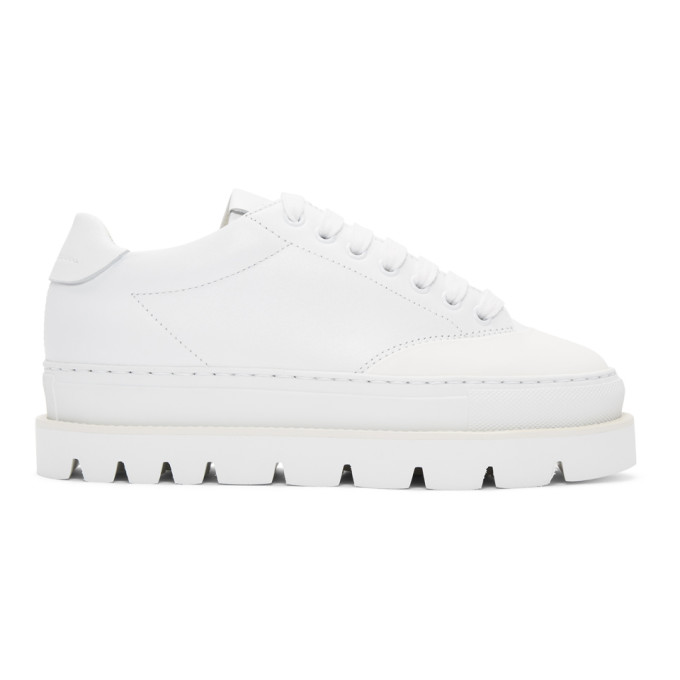 MM6 Maison Martin Margiela White Leather Platform Sneakers