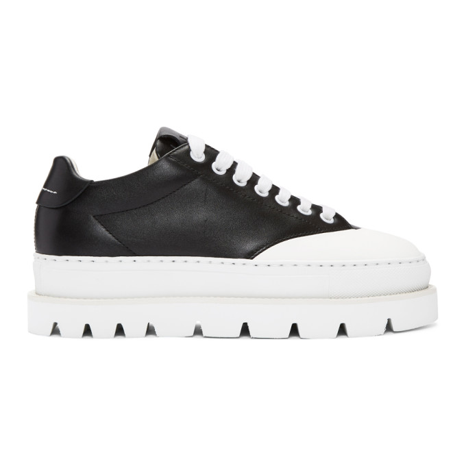 MM6 Maison Martin Margiela Black Leather Platform Sneakers