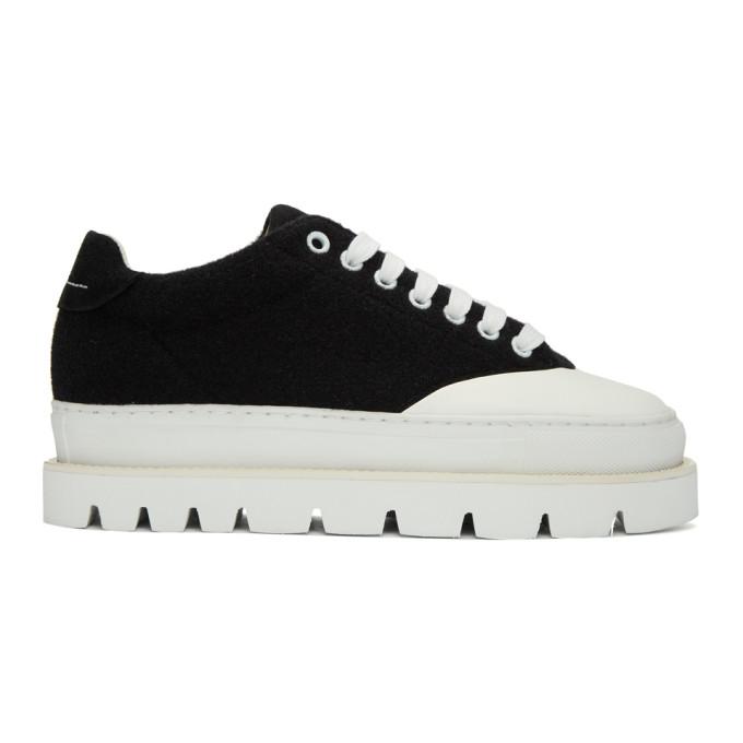 MM6 Maison Martin Margiela Black Wool Platform Sneakers
