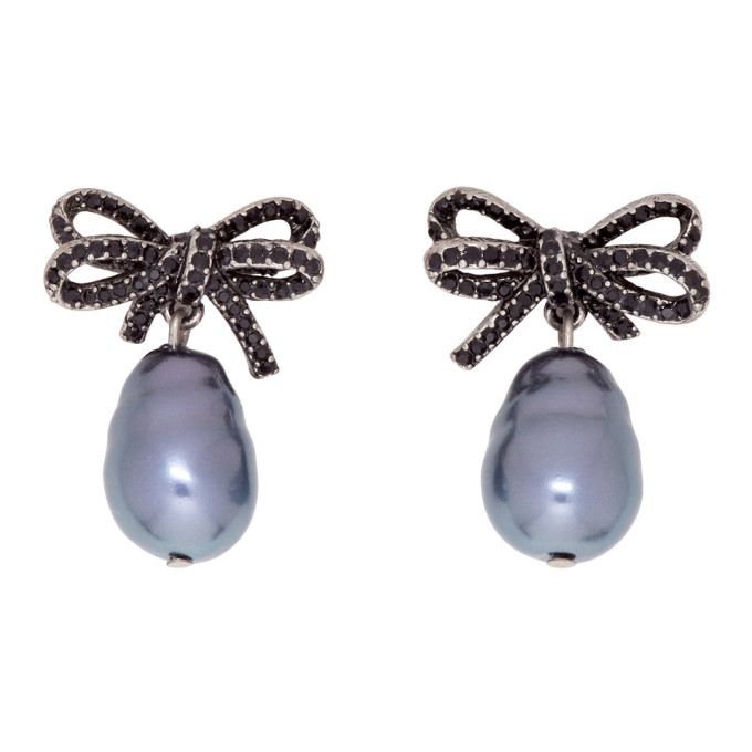 Marc Jacobs Black Faux-Pearl Small Bow Earrings