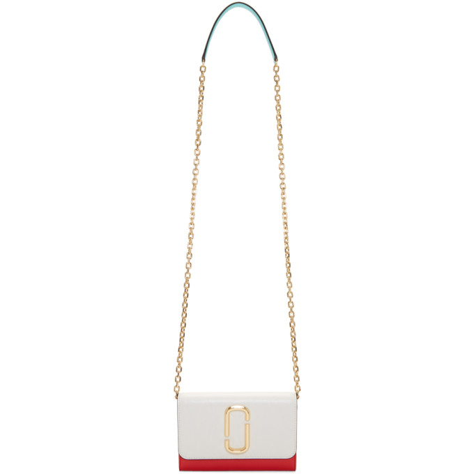 Marc Jacobs White & Red Chain Wallet Bag