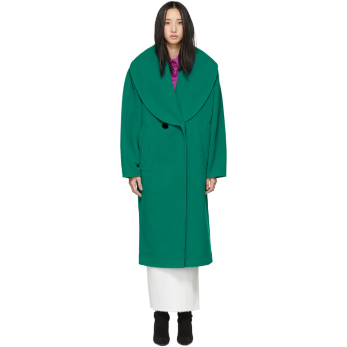 Marc Jacobs Green Wool Shawl Collar Coat