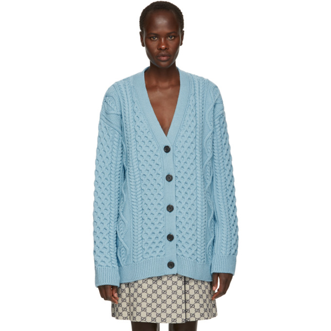 Marc Jacobs Blue Wool Cable Knit Cardigan