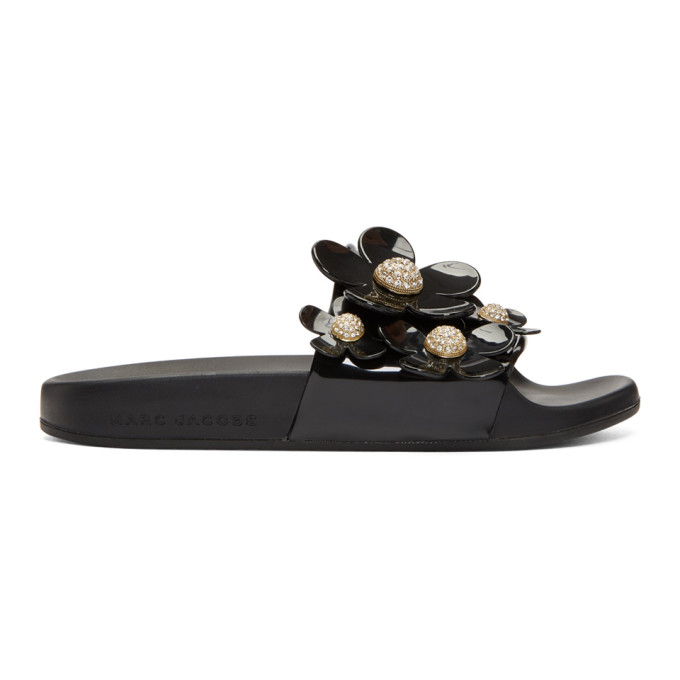 Marc Jacobs Black Pav� Daisy Aqua Slides