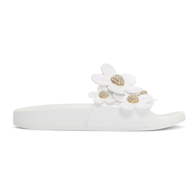 Marc Jacobs White Pav� Daisy Aqua Slides