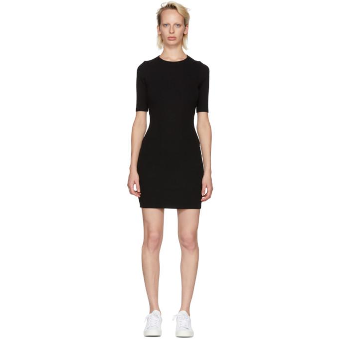 T by Alexander Wang Black Rib Logo Dress