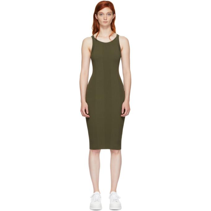 T by Alexander Wang Green Visible Strap Dress