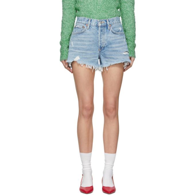 AGOLDE Parker Distressed Denim Shorts in Swapmeet