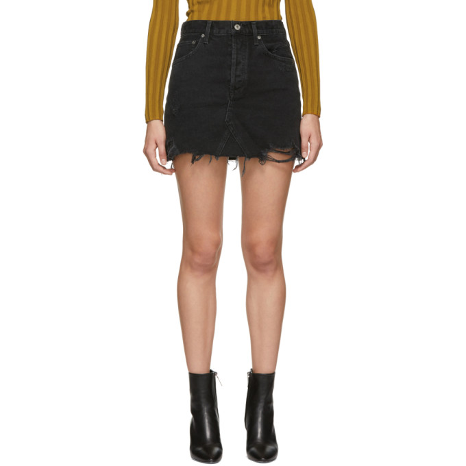 A GOLD E Quinn High-Rise Frayed Denim Mini Skirt in Cult