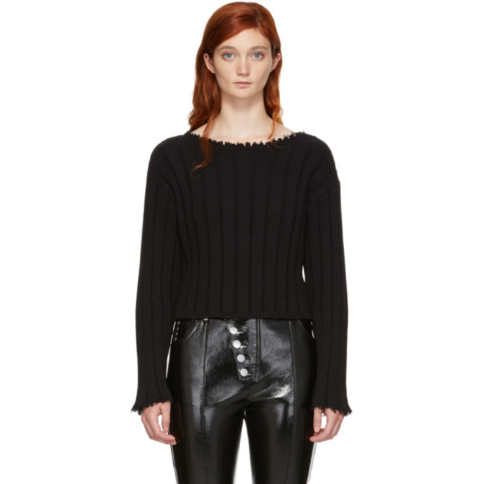 T by Alexander Wang Black Raw Edge Off-the-Shoulder Sweater