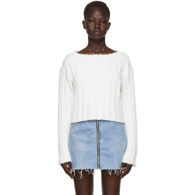 T by Alexander Wang White Raw Edge Off-the-Shoulder Sweater