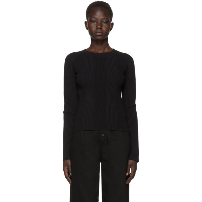 T by Alexander Wang Black Visible Strap Crewneck Sweater