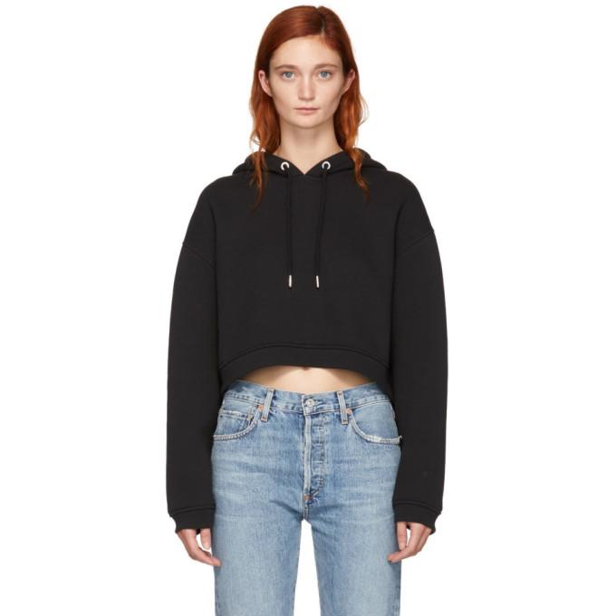 Alexanderwang.T Black Dense Fleece Cropped Hoodie in 001 Black