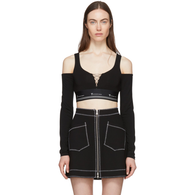 Image of T by Alexander Wang Black Cold Shoulder Cropped T-Shirt