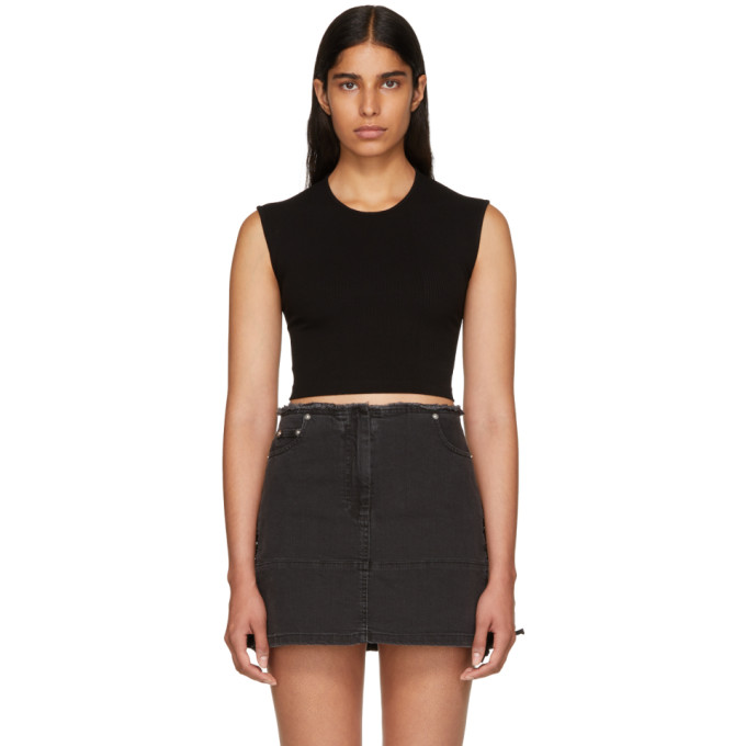 Image of T by Alexander Wang Black Compact Rib Cut-Out T-Shirt