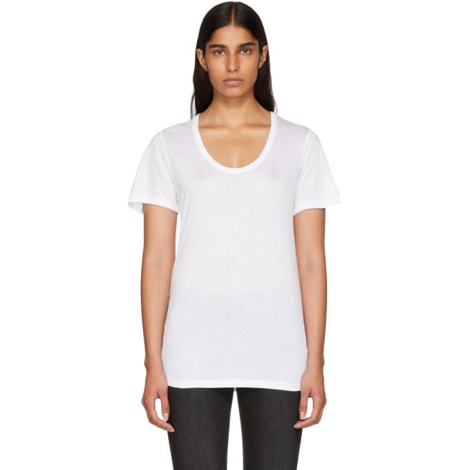 T by Alexander Wang Off-White Drapey T-Shirt