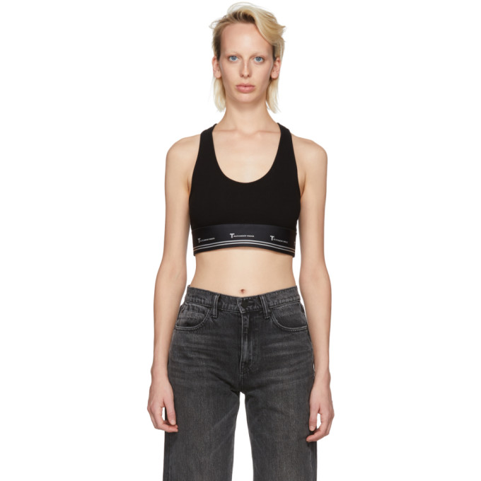 Image of T by Alexander Wang Black Compact Sports Bra