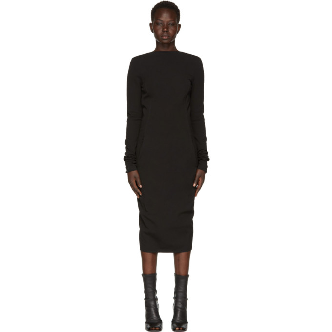 Rick Owens Black Grosgrain Maria Dress