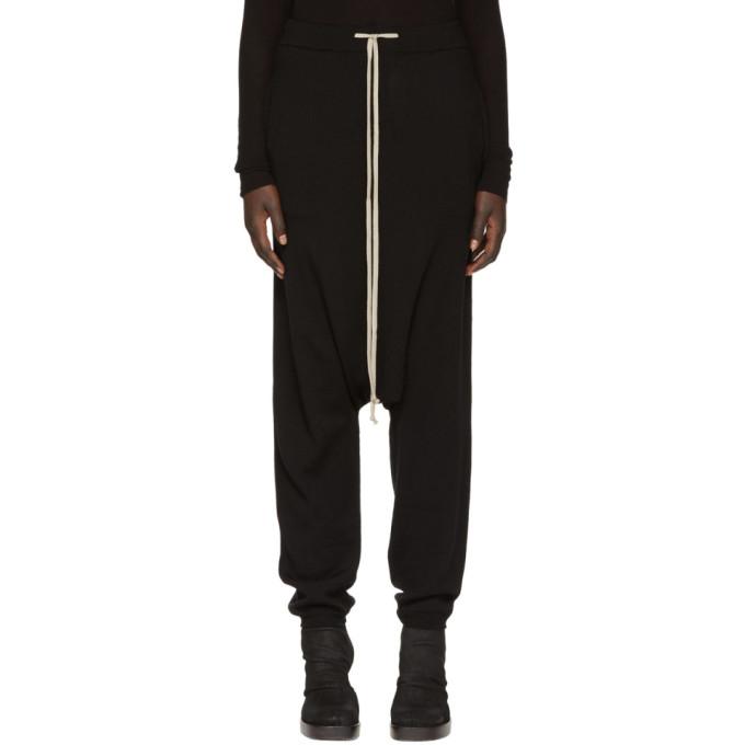 Rick Owens Black Merino Drawstring Lounge Pants
