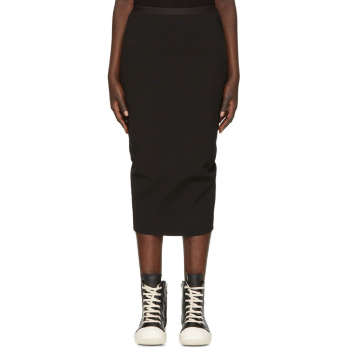 Rick Owens Black Grosgrain  Short Soft Pillar Skirt
