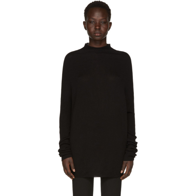 Rick Owens Black Crater Crewneck Sweater