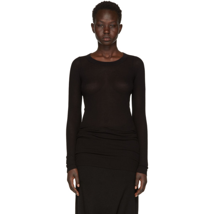 Rick Owens Black Long Sleeve Basic Silk Rib T-Shirt