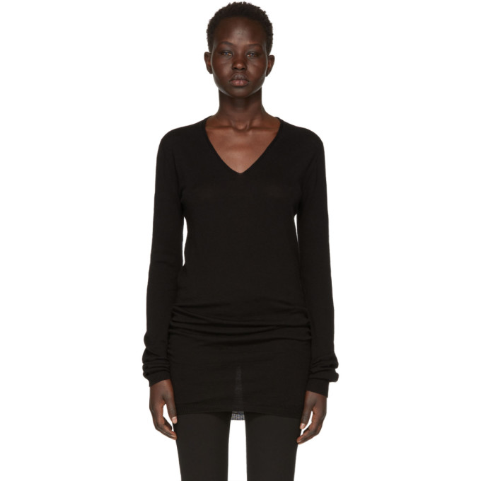 Rick Owens Black Merino V-Neck Sweater