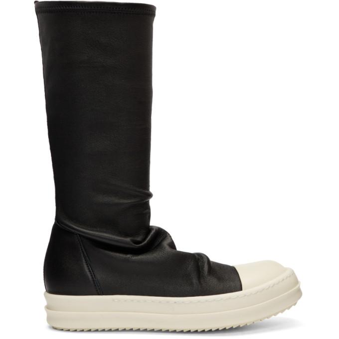 Rick Owens Black Glitter Stocking Boots