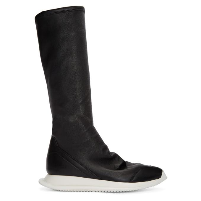 Rick Owens Black Oblique Sock Boots
