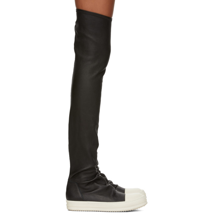 Rick Owens Black & White Leather Sock Boots