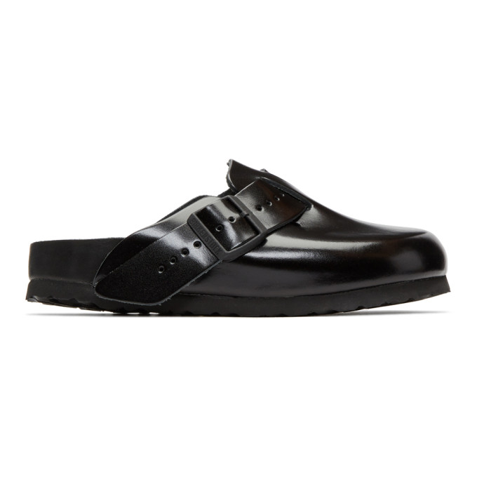 Rick Owens Black BIRKENSTOCK Edition Leather Boston Slip-On Loafers
