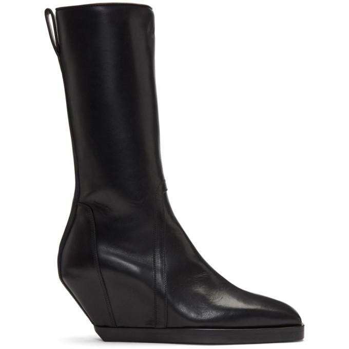 Rick Owens Black Square Toe Boots