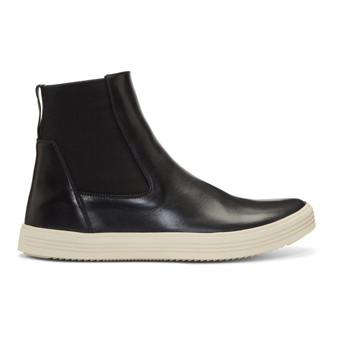 Rick Owens Black & Off-White Leather Mastodon Boots