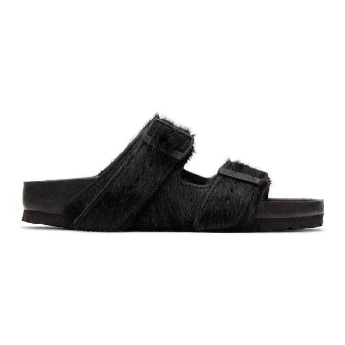 Rick Owens Black BIRKENSTOCK Edition Calf-Hair Arizona Sandals