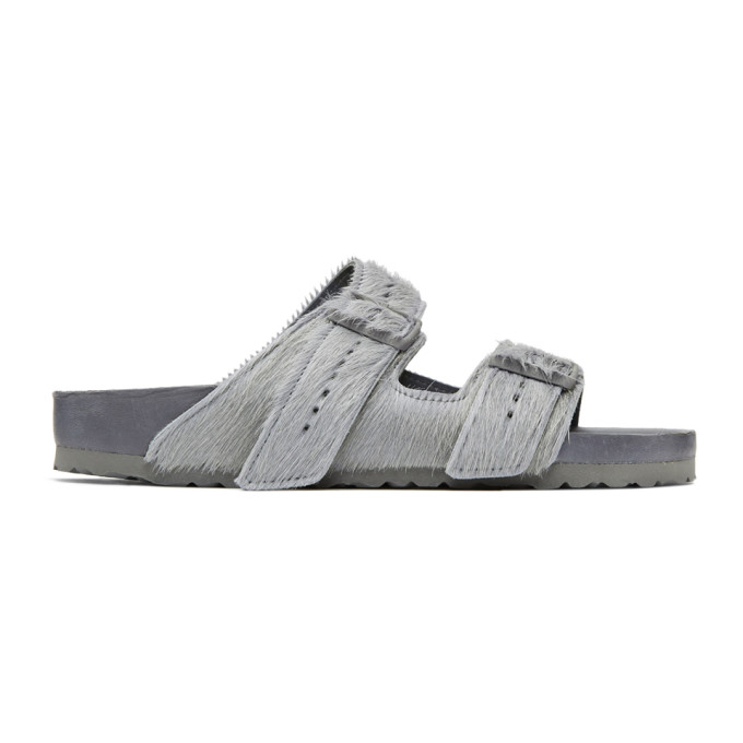 Rick Owens Grey BIRKENSTOCK Edition Calf-Hair Arizona Sandals