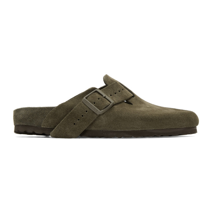Rick Owens Taupe BIRKENSTOCK Edition Suede Boston Slip-On Loafers