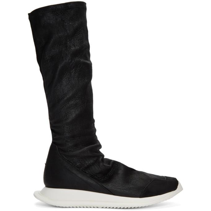Rick Owens Black Oblique Sock High-Top Sneakers