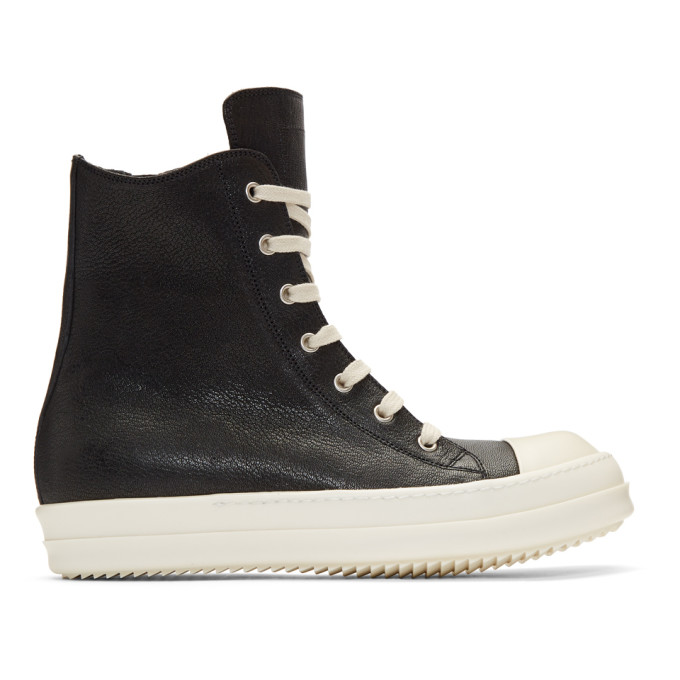 Rick Owens Black & Off-White High-Top Sneakers